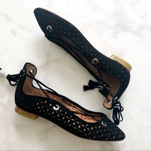 Halogen Shoes - Black Perforated Lasercut Lace Up Flats
